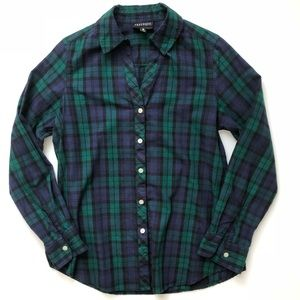 FOXCROFT Plaid Button Down • size 6